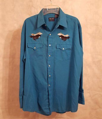 Used, Mens Blair Blue Turquoise Snap Front Shirt Embroidered Race Horses Size Large L for sale  Shipping to Canada