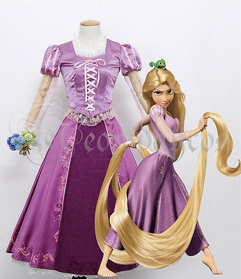 Princess Rapunzel Dress Tangled Adult Cosplay Costume Women Halloween Customized - Customized Costumes