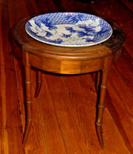Antique Canton Blue & White Chinese Export Porcelain Charger w/ Wood Table Stand