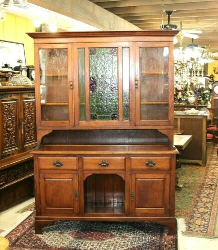 English Antique Oak Art & Craft Buffet / Hutch With Stained Glass