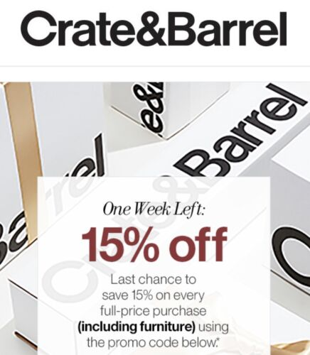 Crate Barrel Coupon 15 Off Order includes Furniture Exp. 1/30/21 - $10.50