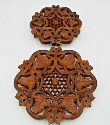 Trivets Set of 2 India Wood Hand Carved Vintage Collectible Home Decor Kitchen
