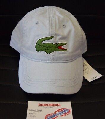 13ee693d7ae New Lacoste Big Logo Adjustable Strapback Dad Hat Light Blue RK8217-51-T01