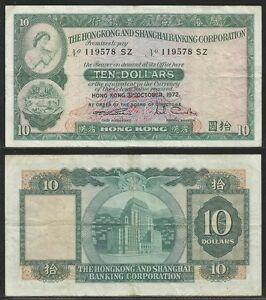 HONG-KONG-10-Dollars-31-10-1972-Pick-182g-VF