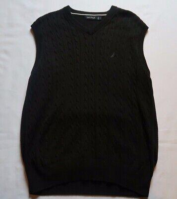 Mens Black Sweater Vest - Nautica Men's Sweater Vest Pullover Black Cable Knit - Large