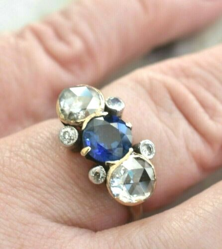 Size 7 Antique 3 3/4 Rose Cut DIAMOND SAPPHIRE 14Kt 15Ct Gold Gothic Band Ring
