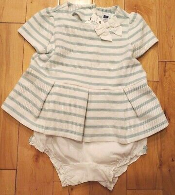 Baby Girl 12-18 Month Janie and Jack 2 Piece Set White +Teal Stripe Pleat Dress