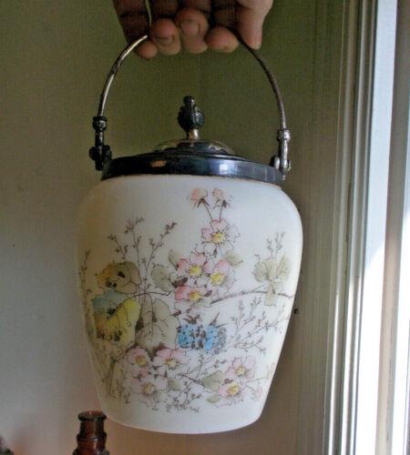 ANTIQUE 1890s MT.WASHINGTON SATIN GLASS BISCUIT CRACKER JAR PRETTY FLOWERS
