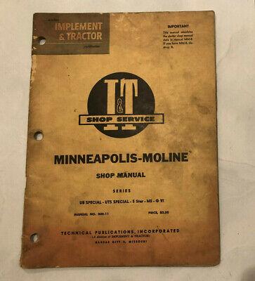 I T Shop Service Manual Mm-11 Minneapolis Moline Ub Uts Special 5 Star