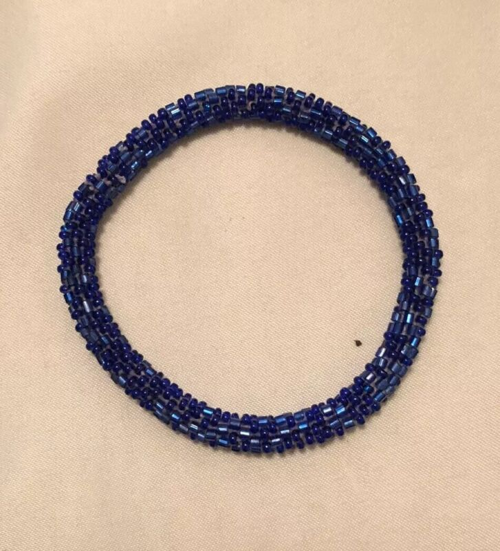 Art Deco Blue Bead Bangle Bracelet VGC