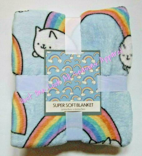 "Rainbow Kitties Super Soft Blanket 50"" x 60"" ~ New"