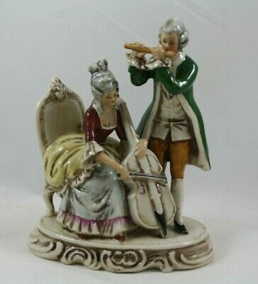 Vintage Victorian Couple Porcelain Figurine Ruffled Dress Suit Coat Flute Reading Courting In Love Romance Cottage Chic Japan Fine Quality
