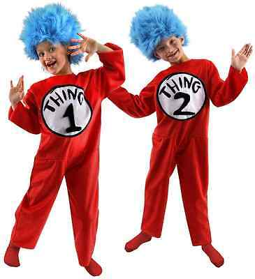 Thing 1 / 2 Jumpsuit Dr Seuss Cat in the Hat Fancy Dress Halloween Child Costume - Thing 1 Costume Baby