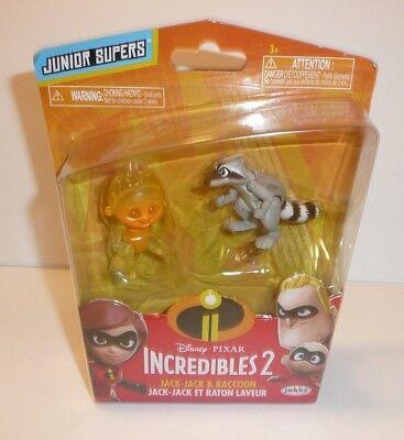 Incredibles 2 Pack of Action Figures FIRE JACK JACK Baby Raccoon Jakks Pixar