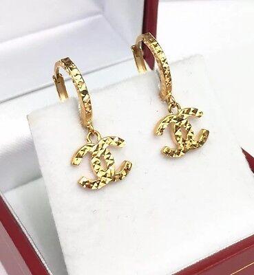 18k Solid Yellow Gold Cute Dangle Hoop Earrings, Diamond Cut 2.0 Grams