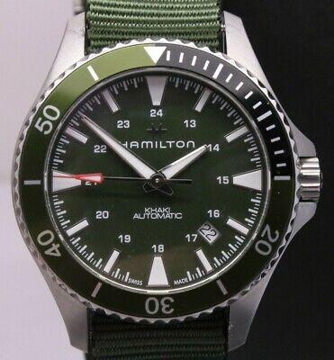 Hamilton Khaki Green Scuba Diver Mens 41mm Steel Automatic Watch w Box H823750