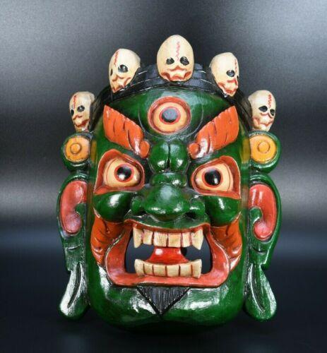 Mahakala Wooden Bhairab Shaman Mask Tibetan Handmade Carved Vintage Gift Nepal