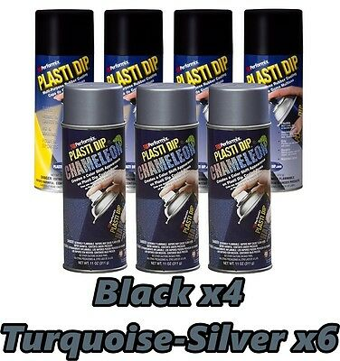 Performix Plasti Dip Wheel Kit 4 Matte Black 3 Chameleon Turquoise Silver Cans