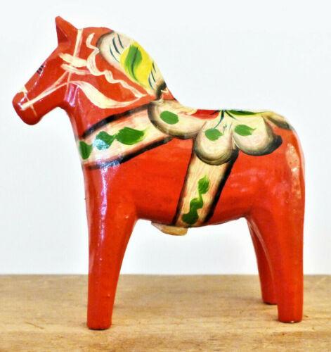 Vintage SWEDEN Wood DALA HORSE Nils Olsson NUSNAS Label CARVING Folk Art #3