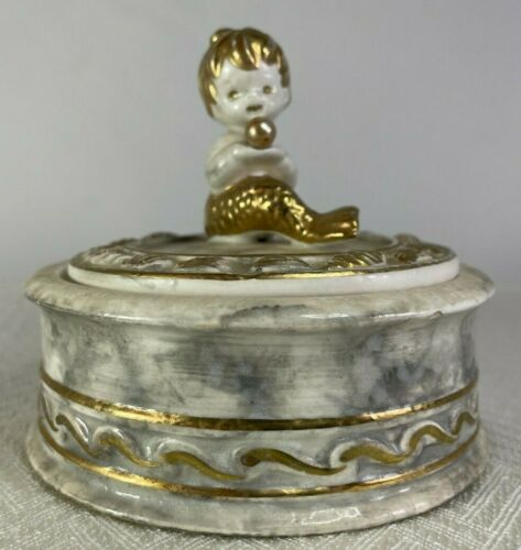 Vintage Napcoware C-6329 Tuscany Alabastro BABY MERMAID Trinket box