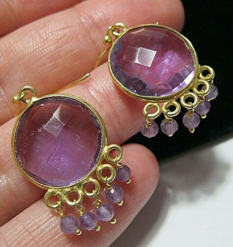 14ct on Sterling SILVER Natural Amethyst 19.76cts Gem Stone Statement EARRINGS