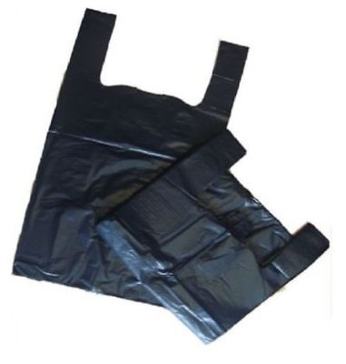 "2000 Black Large Plastic Vest Carrier Shopping Bags Bottle Bag 8""X13""X18"