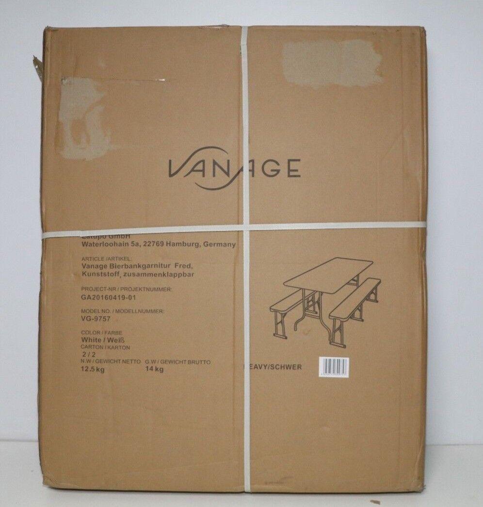 Vanage Gartenmöbel-Set in weiß Bierzeltgarnitur aus Kunststoff Bierbank &  Tisch