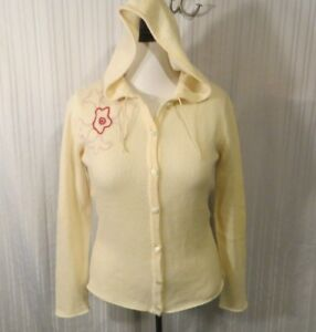 Lucien Pellat Finet Cream Cashmere Hooded Cardigan Sweater Women's Size large