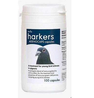Harkers Adenocaps 100 Capsules for young bird sickness date:09.20 - discontinued