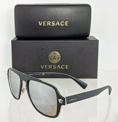 Brand New Authentic Versace Sunglasses Mod. 2199 1000/6G 56mm Black Silver Frame