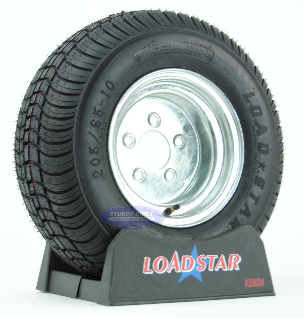 205//65-10 6 Ply 20.5X8.00-10 Loadstar Trailer Tire LRC on 5 Bolt Silver Wheel