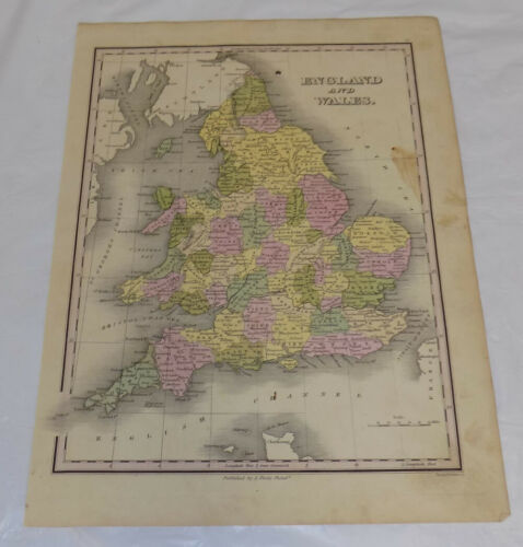 1827 Antique COLOR Map///ENGLAND AND WALES