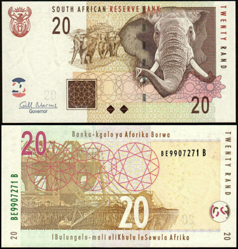 South Africa ND 2005 20 Rand Elephant Banknote Gill Marcus P-129b UNC new uncirc
