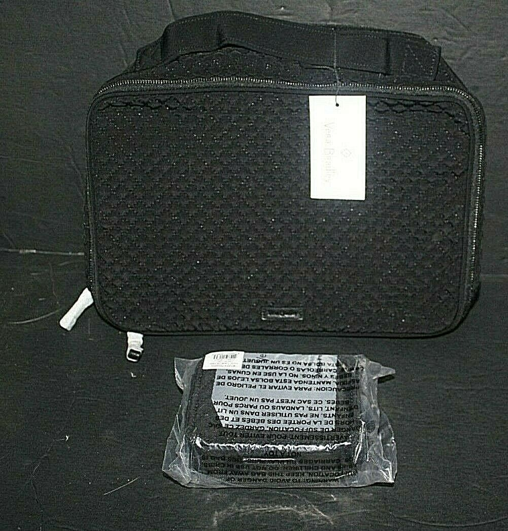 Vera Bradley CLASSIC BLACK Iconic Large Blush and Brush Case BAG & PILL NWT