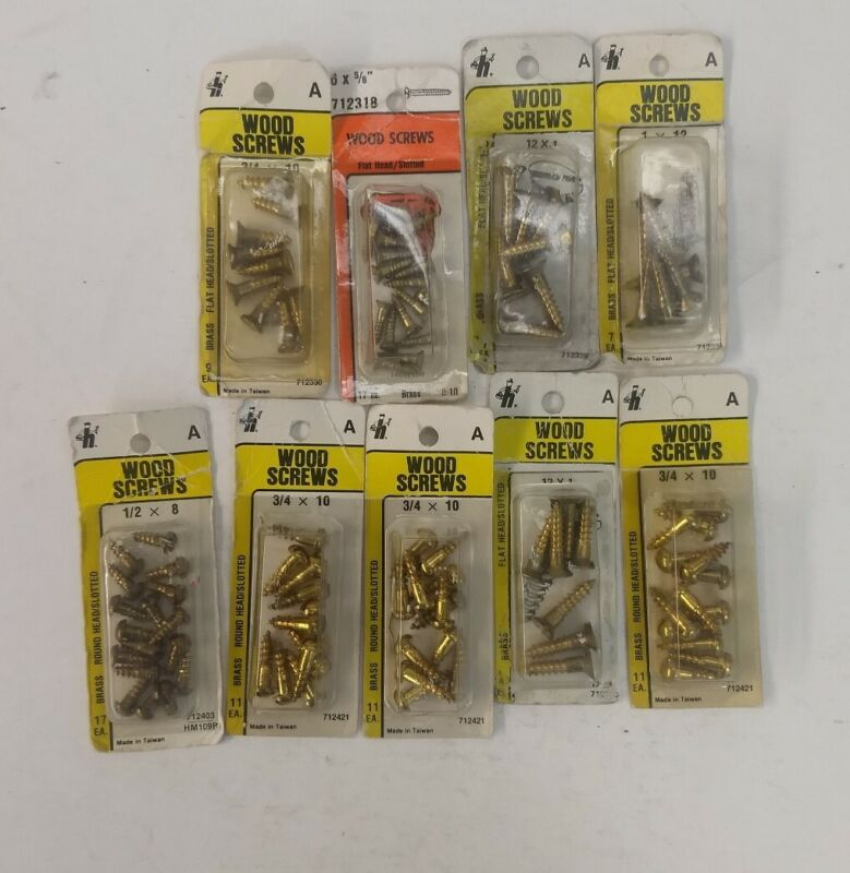 Vintage Brass Slotted Wood Screws NOS in Blister Packs