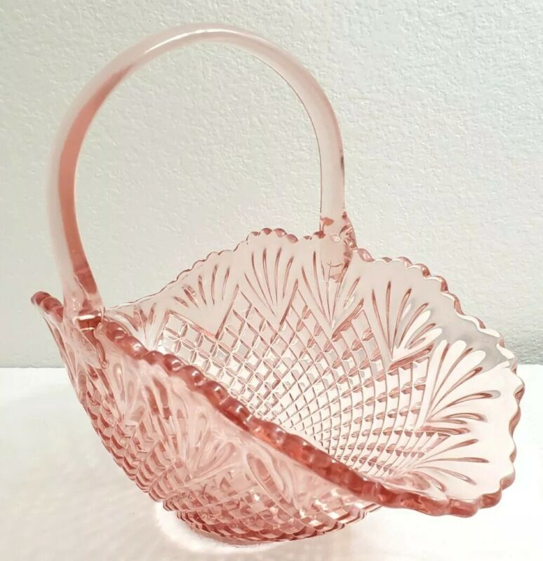 "Vtg L.E. Smith Pink Pineapple Pattern Glass Basket Large 11.5"" Tall 14.5"" Wide"