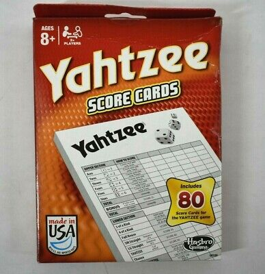 1 Yahtzee Score Cards Replacement Pads Genuine Made in USA 06100 80 Sheets/Pad