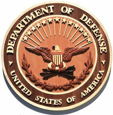 DEPARTMENT OF DEFENSE SEAL - DOD PLAQUE -   Handcrafted Wooden Military Plaques