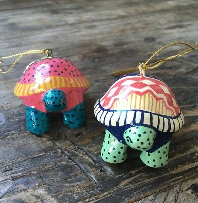 Anthropologie Christmas Ugly Sweater Ornament Set Of 2 Turtle 🐢 New, Sold Out