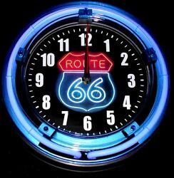 RWB ROUTE 66 SHIELD LOGO - 11 Blue Neon Wall Clock
