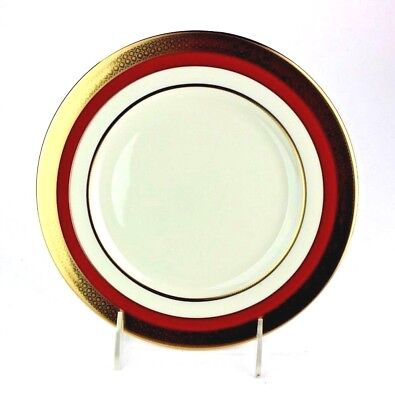 Rim Accent Plate (Lenox Embassy Salad Plate Red Rim with 24 Karat Gold Band Accent )