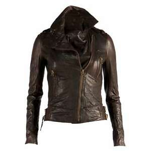 New 100% Genuine Lambskin Leather Jacket for Women's stylish ladies Coat wear W3