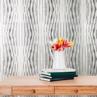 (vinyl modern Wallpaper rolls textured stripes gray white silver geometric rolls )