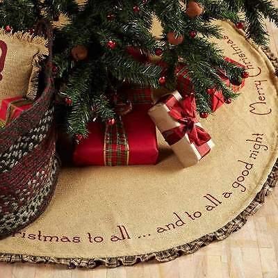 """BURLAP SANTA RUFFLED CHRISTMAS TREE SKIRT 48"""" D GREEN BURGUNDY TAN PLAID RUFFLE"""