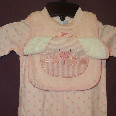 New Easter Outfit Pink Bunny Size 3 Months 3 Piece Set Vitamins Baby Sleeper Bib - Easter Bunny Baby Outfit