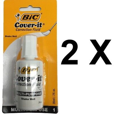 2 X Bic White Out Bic Cover It Multi-purpose Correction Fluid 20 Ml .7 Oz.