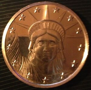 1 OZ COPPER ROUND STATUE OF LIBERTY DESIGN