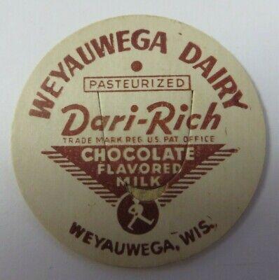 "Vtg Milk Bottle Cap 1 & 5/8"" WEYAUWEGA DAIRY Chocolate Milk Dari-Rich Wisconsin"