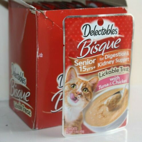 Delectables Bisque Senior Lickable Cat Treats Tuna & Chicken 12 Count - FREEship