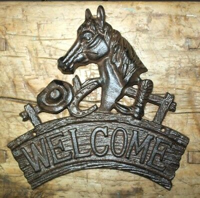 Cast Iron HORSE Head  WELCOME Cowboy Plaque Sign Rustic Ranch Wall Decor Western](Cowboy Wall Decor)